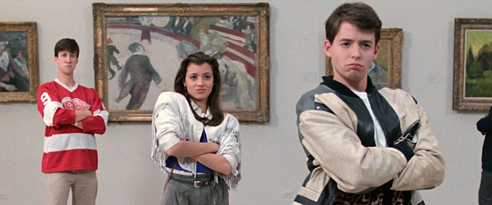Alan Ruck, Mia Sara and Matthew Broderick in 'Ferris Beuller's Day Off'. (Credit: Paramount Pictures)