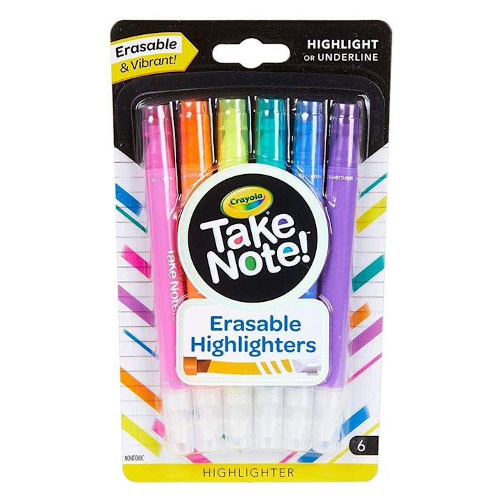 """<p><strong>Crayola</strong></p><p>amazon.com</p><p><strong>$5.99</strong></p><p><a href=""""http://www.amazon.com/dp/B07B958QGH/?tag=syn-yahoo-20&ascsubtag=%5Bartid%7C2089.g.1804%5Bsrc%7Cyahoo-us"""" rel=""""nofollow noopener"""" target=""""_blank"""" data-ylk=""""slk:Shop Now"""" class=""""link rapid-noclick-resp"""">Shop Now</a></p><p>Highlighting is the cornerstone of note-taking, but highlighting the wrong section can ruin everything. Thankfully, Crayola made that the thing of the past with their erasable highlighters. They come in six vibrant colors on one end and a clear eraser tip on the other end. If you accidentally highlight the wrong sentence, simply erase it and move right along!</p>"""