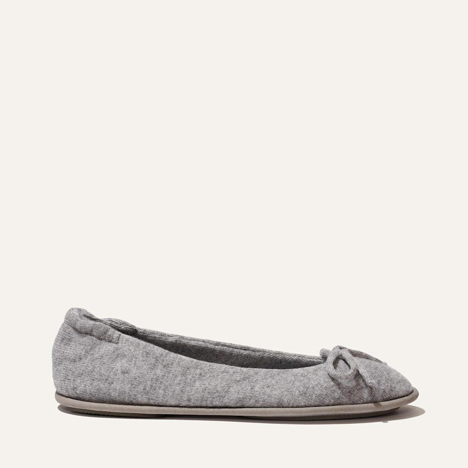 """<p><strong>Margaux</strong></p><p>margauxsamplesale.com</p><p><a href=""""https://margauxsamplesale.com/collections/frontpage/products/cashmere-slipper-heather"""" rel=""""nofollow noopener"""" target=""""_blank"""" data-ylk=""""slk:SHOP IT"""" class=""""link rapid-noclick-resp"""">SHOP IT </a></p><p><del>$135<strong><br></strong></del><strong>$79</strong></p><p>Since you're spending the foreseeable future at home, you might as well invest in some cozy slippers. This pair will give your WFH setup a luxe feel. </p>"""