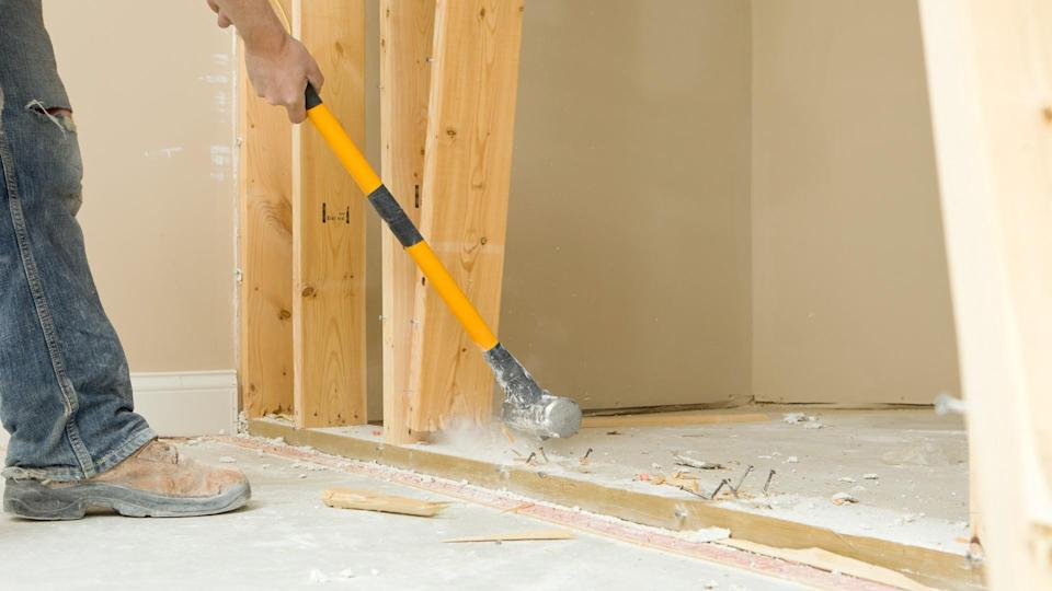 """Heavy, Breaking, Concrete, Construction, Construction Frame, Construction Site, Demolishing, Domestic Room, Floor, Frame, HITTING, Hammer, Holding, Home Improvement, Home Interior, Horizontal, House, Human Hand, Industry, Manual Worker, Nail, Plank, Removing, STUD, Sledgehammer, Swinging, Wall, Wall Frame"", Wood"