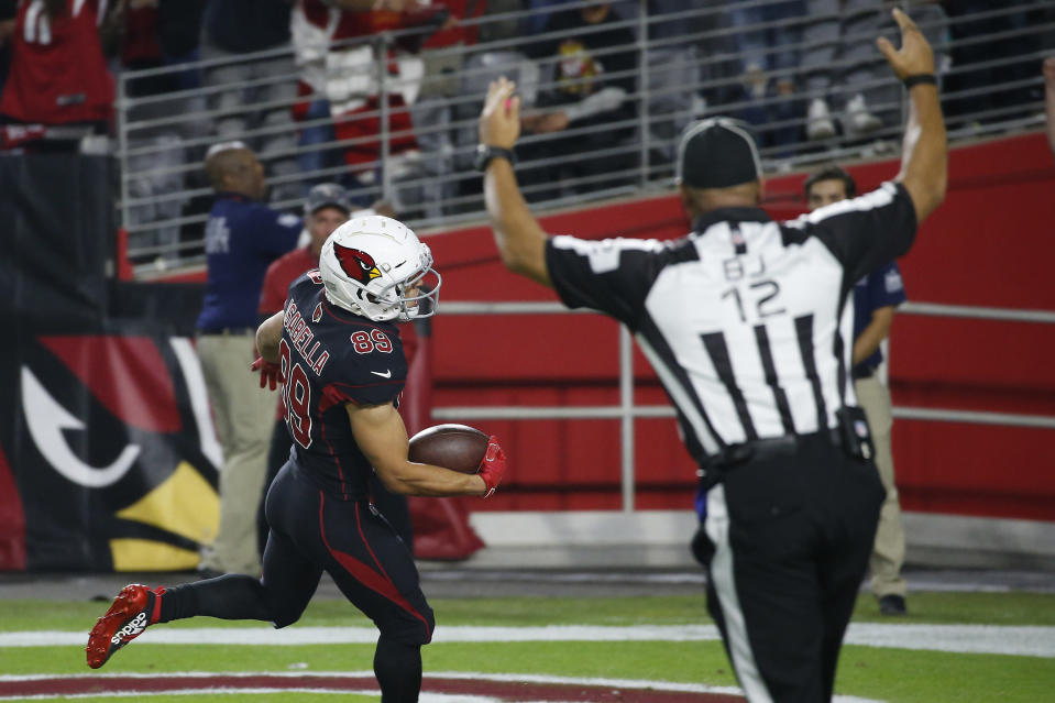 Arizona Cardinals wide receiver Andy Isabella (89) scores a touchdown against the San Francisco 49ers during the second half of an NFL football game, Thursday, Oct. 31, 2019, in Glendale, Ariz. (AP Photo/Ross D. Franklin)