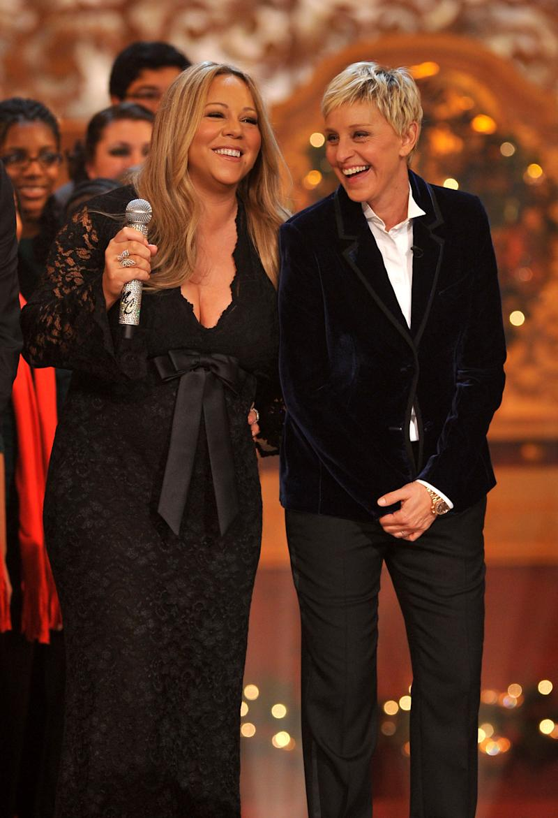 "Mariah Carey and Ellen DeGeneres perform onstage during TNT's ""Christmas in Washington 2010"" at the National Building Museum on December 12, 2010 in Washington, DC. ""Christmas in Washington 2010"" airs on TNT December 17 at 8pm."