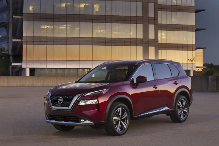 This photo provided by Nissan shows the 2021 Nissan Rogue, the newest version of Nissan's popular compact SUV. Redesigned for 2021, the Rogue improves upon its predecessor in almost every way imaginable. (Courtesy of Nissan North America via AP)