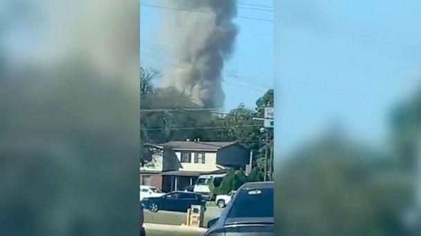 PHOTO: Smoke billows from the site of a plane crash in Fort Worth, Texas, Sept. 19, 2021. (Chasity Benne/Facebook)