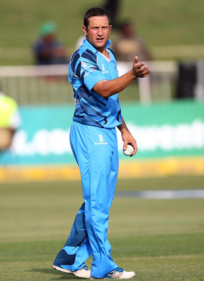 DURBAN, SOUTH AFRICA - OCTOBER 17:  Roelof van der Merwe of Nashua Titans gestures during the Karbonn Smart CLT20 match between Nashua Titans and Auckland Aces at Sahara Stadium Kingsmead on October 17, 2012 in Durban, South Africa.  (Photo by Anesh Debiky/Gallo Images/Getty Images)