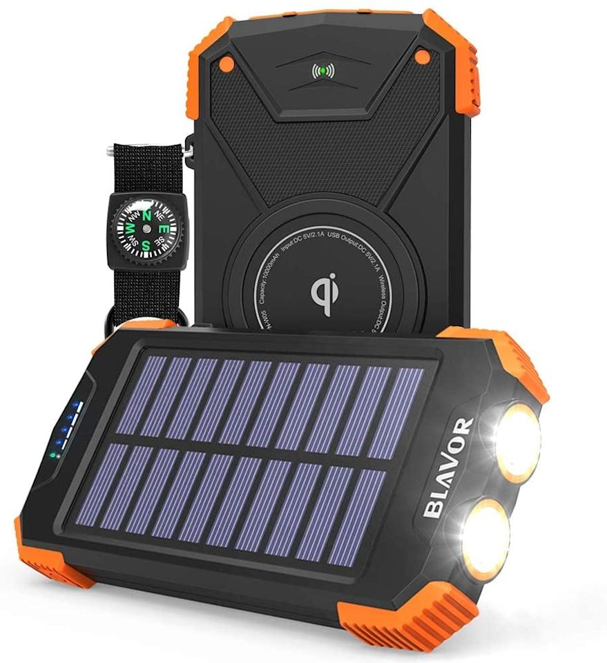 "<p>Keep your phones charged with this <a href=""https://www.popsugar.com/buy/Solar-Power-Bank-585992?p_name=Solar%20Power%20Bank&retailer=amazon.com&pid=585992&price=29&evar1=savvy%3Auk&evar9=47585582&evar98=https%3A%2F%2Fwww.popsugar.com%2Fsmart-living%2Fphoto-gallery%2F47585582%2Fimage%2F47585785%2FSolar-Power-Bank&list1=travel%2Camazon%2Ccamping&prop13=api&pdata=1"" rel=""nofollow"" data-shoppable-link=""1"" target=""_blank"" class=""ga-track"" data-ga-category=""Related"" data-ga-label=""https://www.amazon.com/Solar-Power-Charger-Flashlight-Splashproof/dp/B07FDXDB3W/ref=sr_1_57_sspa?dchild=1&amp;keywords=camping+gear&amp;qid=1593544784&amp;sr=8-57-spons&amp;psc=1&amp;spLa=ZW5jcnlwdGVkUXVhbGlmaWVyPUExOUlGQktGWEVEMlpTJmVuY3J5cHRlZElkPUEwNzQ2NjUzMzJYRlRWWTJYOEJTSiZlbmNyeXB0ZWRBZElkPUEwOTk4NjgzWkVaVjJQWEFDMVpTJndpZGdldE5hbWU9c3BfYnRmJmFjdGlvbj1jbGlja1JlZGlyZWN0JmRvTm90TG9nQ2xpY2s9dHJ1ZQ=="" data-ga-action=""In-Line Links"">Solar Power Bank</a> ($29).</p>"