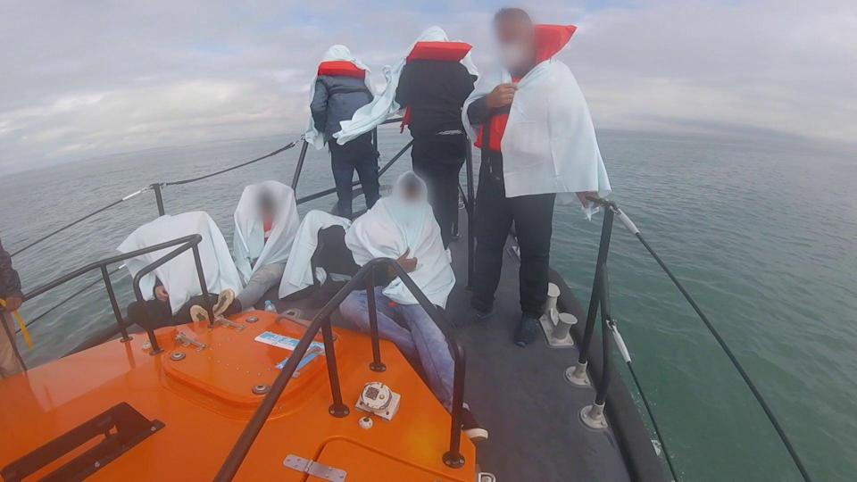 Footage taken in July 2021 of migrants being rescued by the RNLI (RNLI/PA) (PA Media)