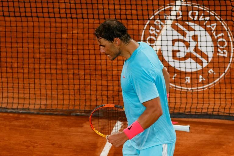 No problem: Rafael Nadal celebrates after defeating Stefano Travaglia in the third round