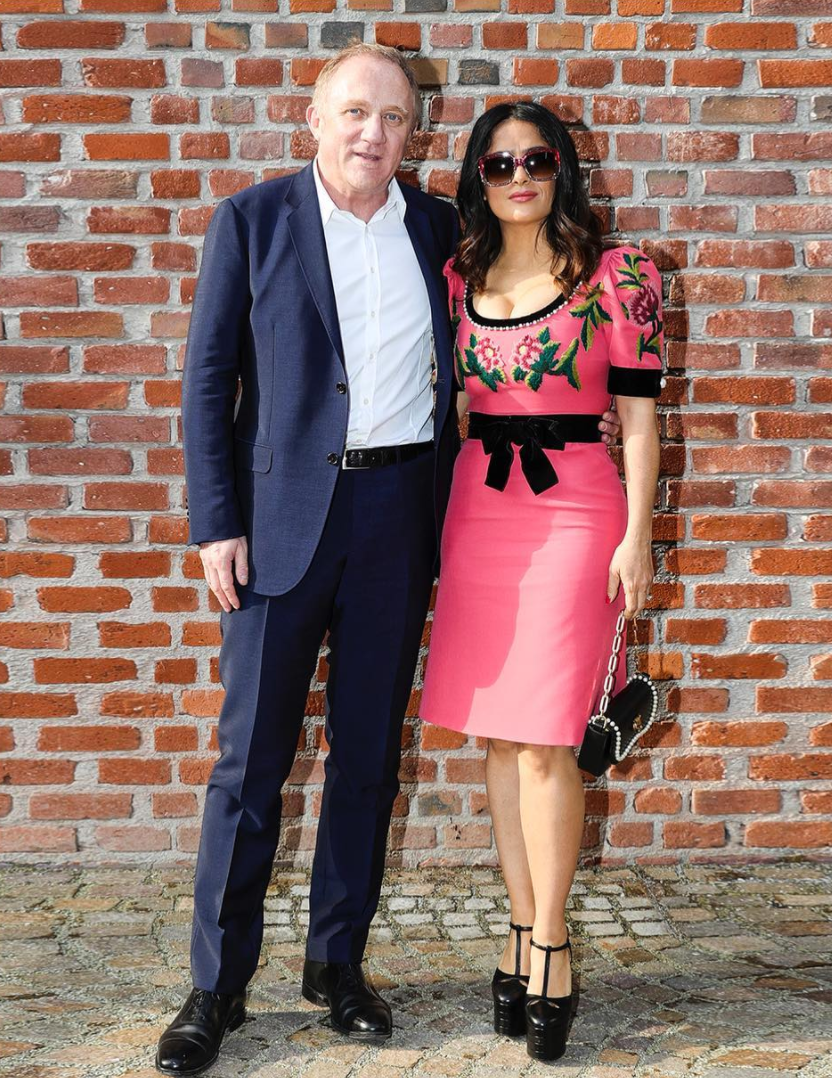 <p>Salma Hayek donned Gucci's mega platforms and a pink embroidered dress. <i>[Photo: Instagram/gucci]</i> </p>