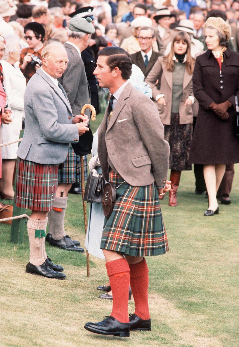Prince Charles at the Braemar Highland Games in Scotland, September 01, 1974.