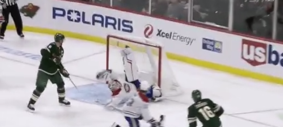 The Canadiens goaltender robs a goal from the Wild's Jason Zucker in fantastic fashion. (Twitter/@NHLGIFs)