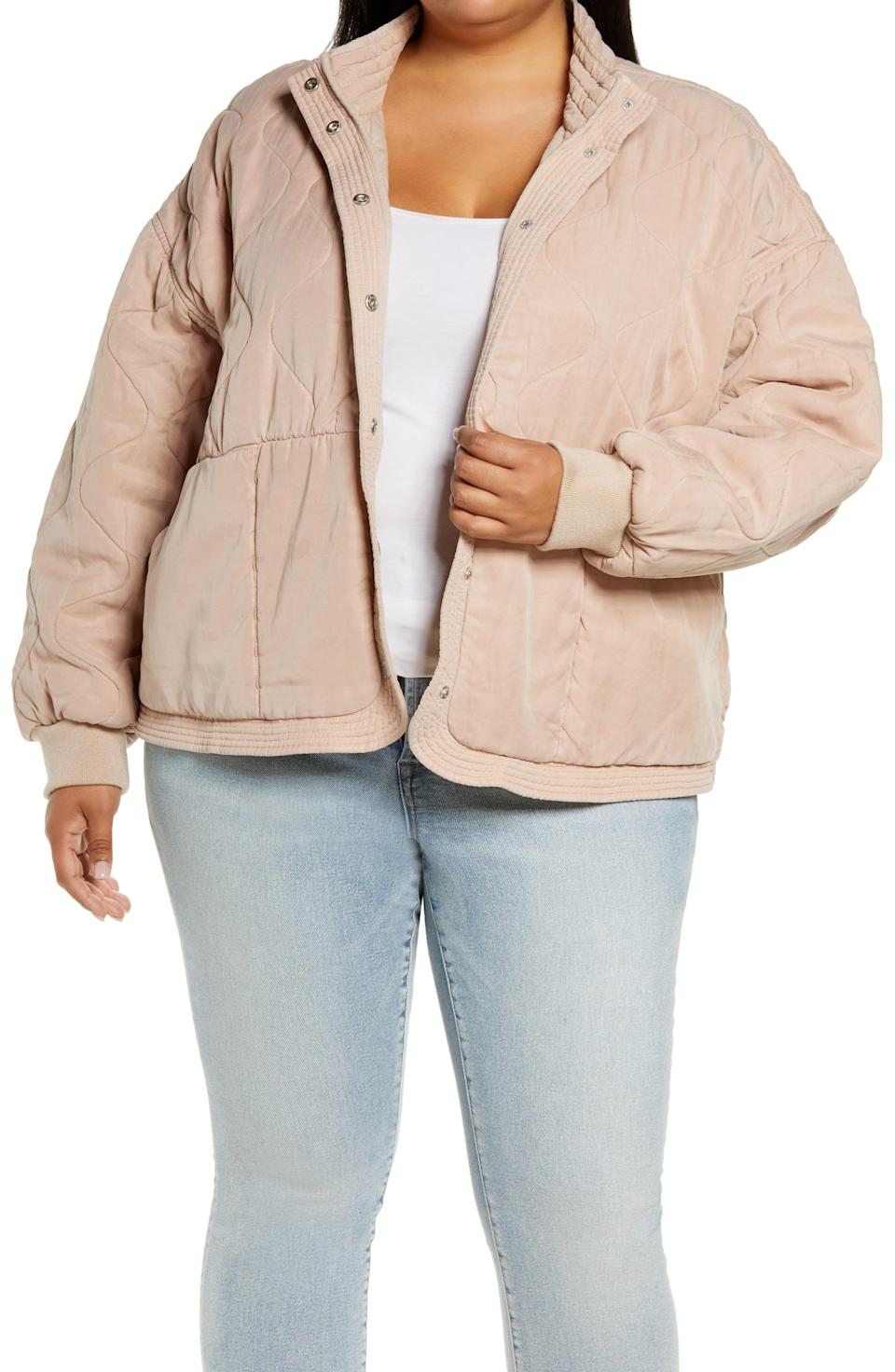 """<p><strong>BLANKNYC</strong></p><p>nordstrom.com</p><p><strong>$49.97</strong></p><p><a href=""""https://go.redirectingat.com?id=74968X1596630&url=https%3A%2F%2Fwww.nordstrom.com%2Fs%2Fblanknyc-quilted-front-snap-jacket-plus-size%2F5813990&sref=https%3A%2F%2Fwww.cosmopolitan.com%2Fstyle-beauty%2Ffashion%2Fg37193145%2Fwinter-fashion-trends-2021-2022%2F"""" rel=""""nofollow noopener"""" target=""""_blank"""" data-ylk=""""slk:Shop Now"""" class=""""link rapid-noclick-resp"""">Shop Now</a></p><p>A super soft textured jacket is the perfect addition to your winter wardrobe. </p>"""