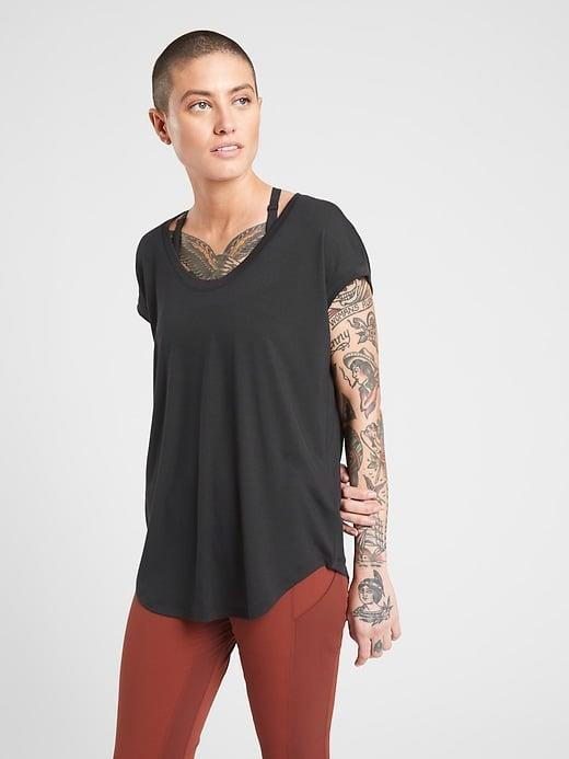 <p>This loose, breathable <span>Athleta Cloudlight Stratus Tee</span> ($44-$54, originally $54) is absolutely perfect for pilates. </p>