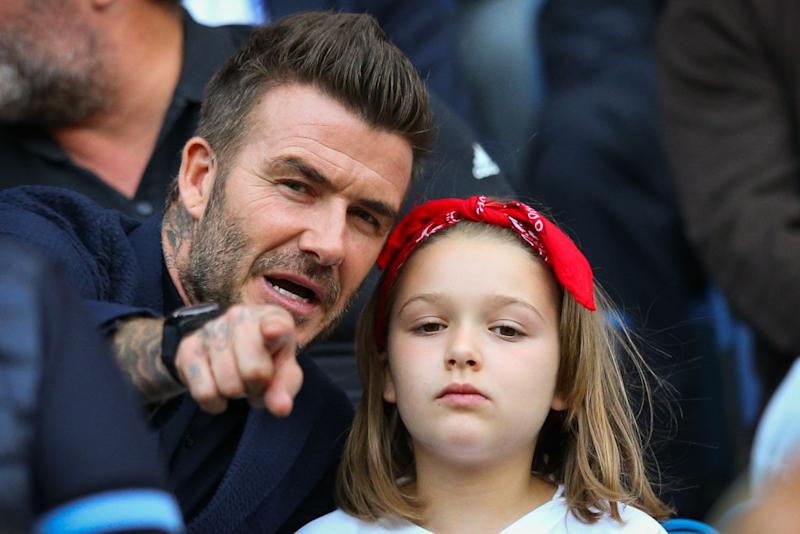 David Beckham has revealed his daughter thinks he pronounces the word, girls, like Del Boy, pictured June 2019. (Getty Images)
