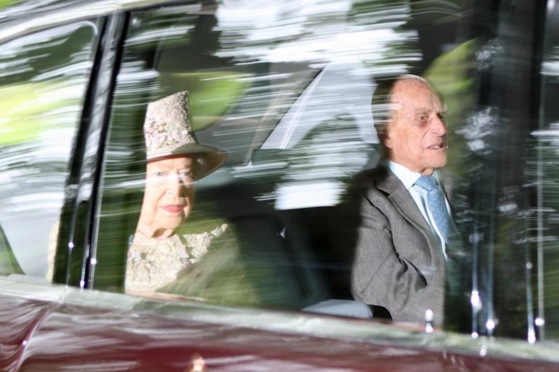Prince Philip and the Queen on their way to Crathie Kirk church in Balmoral: Rex Features