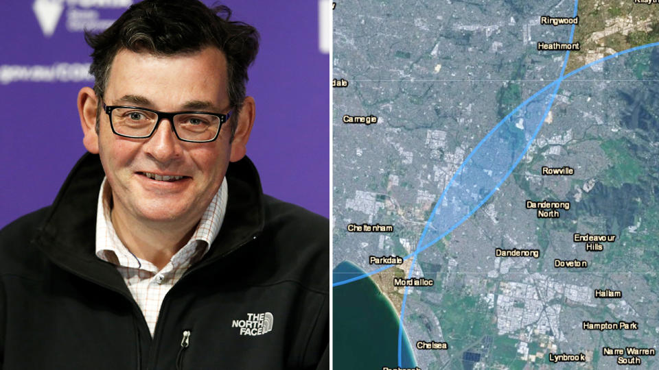 Daniel Andrews, pictured here announcing that some restrictions in Melbourne would be lifted.