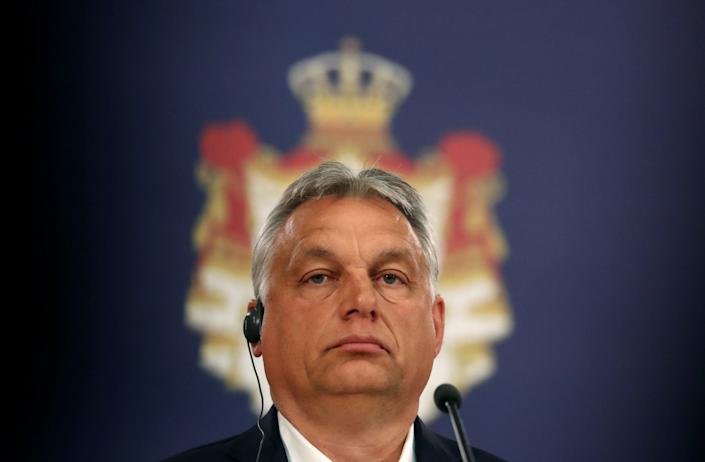 Hungarian Prime Minister Viktor Orban attends a news conference with Serbian President Aleksandar Vucic at the presidential building in Belgrade: Reuters