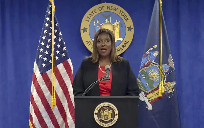 In this still image from video, New York State Attorney General Letitia James addresses a news conference, in New York, Tuesday, Aug. 3, 2021. An investigation into New York Gov. Andrew Cuomo found that he sexually harassed multiple current and former state government employees, state  James announced Tuesday.(Courtesy NY State Attorney General via AP)