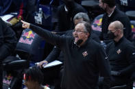 New Orleans Pelicans head coach Stan Van Gundy calls out from the bench in the first half of an NBA basketball game against the Sacramento Kings in New Orleans, Monday, April 12, 2021. (AP Photo/Gerald Herbert)