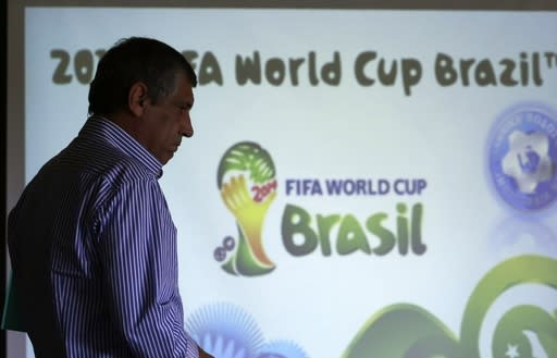 Greece's coach Fernando Santos of Portugal arrives at a press conference to announce the national soccer team's squad in Athens on May 19, 2014. Greece will play against Ivory Coast, Japan and Colombia in a Group C of the World Cup in Brazil. (AP Photo/Thanassis Stavrakis)