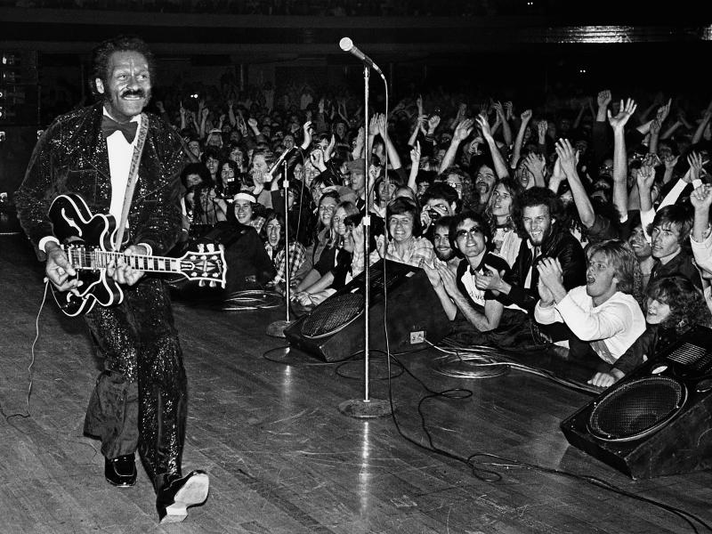 Rock'n'roll legend Chuck Berry struts his signature 'duck walk': Getty