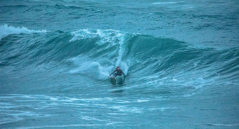 Huge wave shown as surfer takes on massive swell in Sydney on Thursday evening.