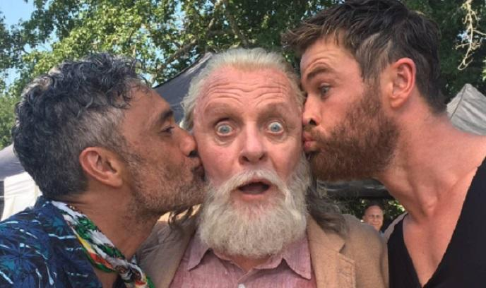By Odin's beard! Oscar winner Sir Anthony Hopkins with his 'Thor: Ragnarok' director and co-star, Taika Waititi and Chris Hemsworth (credit: Taika Waititi's Instagram)