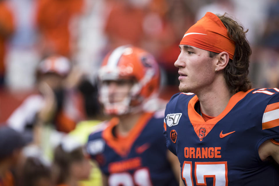 SYRACUSE, NY - SEPTEMBER 28:  Rex Culpepper #17 of the Syracuse Orange runs out for the game against the Holy Cross Crusaders at the Carrier Dome on September 28, 2019 in Syracuse, New York. Syracuse defeats Holy Cross 41-3.  (Photo by Brett Carlsen/Getty Images)