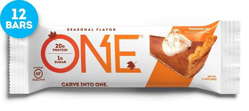 <p>If you're concerned about protein bars tasting like cardboard, fear not. These <span>One Protein Bars, Pumpkin Pie</span> ($25 for 12) taste like candy. </p>