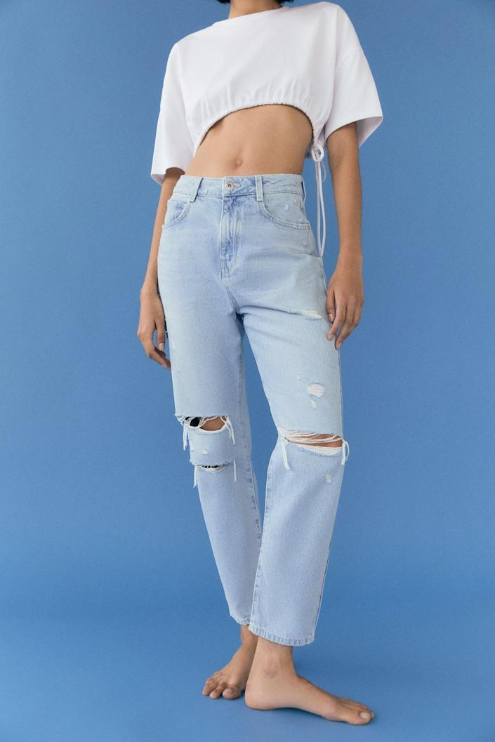<p>Customers love the cut of these <span>Zara Ripped Mom Fit Jeans</span> ($40).</p>