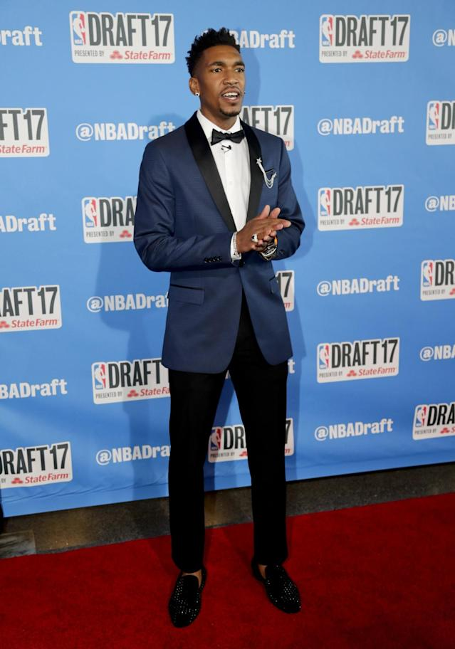 <p>Kentucky's Malik Monk stops for photos while walking the red carpet before the start of the NBA basketball draft, Thursday, June 22, 2017, in New York. (AP Photo/Frank Franklin II) </p>