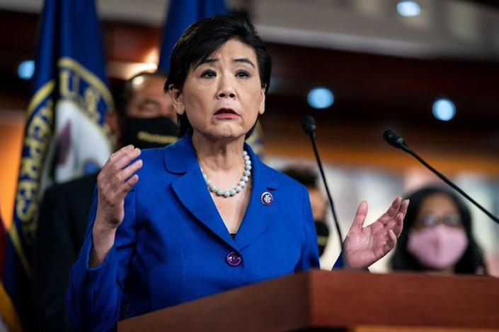 WASHINGTON, CA - MAY 18: Rep. Judy Chu (D-CA) speaks during a news conference with other House Democrats about the COVID-19 Hate Crimes Act on Capitol Hill on May 18, 2021 in Washington, DC. (Kent Nishimura / Los Angeles Times)
