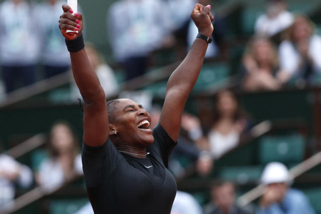 "<a class=""link rapid-noclick-resp"" href=""/olympics/rio-2016/a/1132744/"" data-ylk=""slk:Serena Williams"">Serena Williams</a> was elated when she won her round two match against Ashleigh Barty at the French Open. (AP Photo/Thibault Camus)"