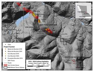 Drillhole locations from this news release