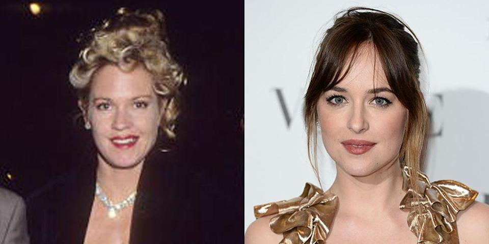 <p>Melanie Griffith started modeling at just nine months old and debuted on screen as Delly Grastner in <em>Night Moves </em>at 19. Her daughter with Don Johnson, her first (and third!) husband, is also an actress. Dakota became a household name for her role as Anastasia Steels in the <em>Fifty Shades of Grey</em> series.</p>