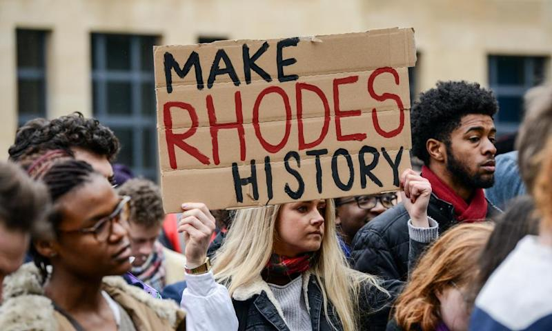 Students at Oriel College, Oxford, call for the removal of a statue of Cecil Rhodes, March 2016