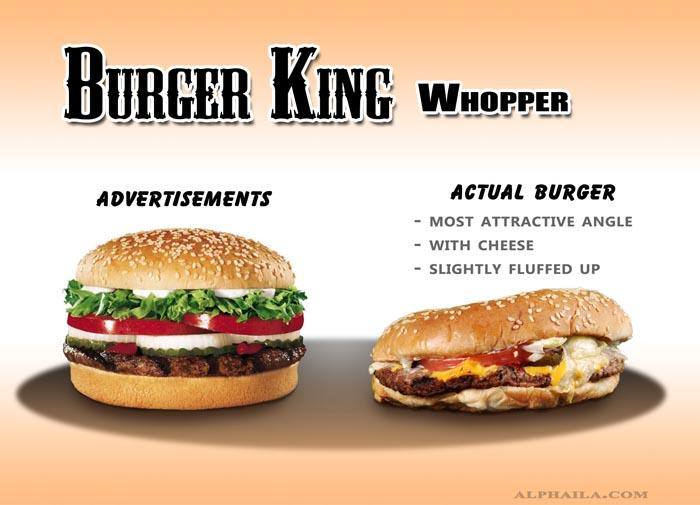 "<b>Burger King Whopper</b><br> <br> The advertised burger vs. an actual Burger King Whopper. <br> <br> (Image via <a target=""_blank"" href=""http://www.alphaila.com/articles/failure/fast-food-false-advertising-vs-reality/"">Dario D</a>.)"