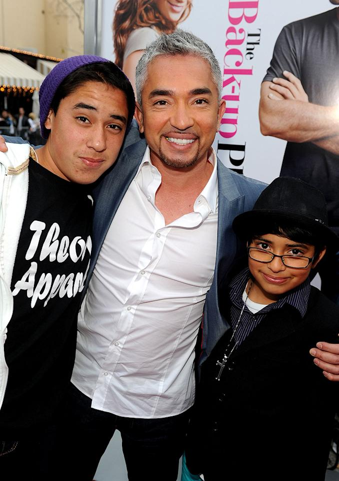 """Cesar Millan and kids at the Los Angeles premiere of <a href=""""http://movies.yahoo.com/movie/1810107558/info"""">The Back-up Plan</a> - 04/21/2010"""