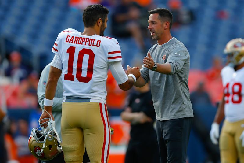 Niners head coach Kyle Shanahan (right) has put Jimmy Garoppolo in a position to succeed with high volumes of play-action. (Photo by Justin Edmonds/Getty Images)