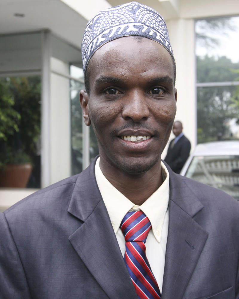 """In this photo taken Wednesday. Aug. 3. 2011, showing Kenyan Police constable Hashim Mohammed Elmogo in Nairobi, Kenya, who has donated his entire July salary towards drought and famine relief.  Police constable Hashim said """"I am very touched by the images of starving children and emaciated women. We need to do all we can to ease the situation and save our fellow Kenyans"""", which has prompted friends who have pledged to help support Elmogo survive through his month without money, following his spontaneous act of kindness.(AP Photo/Khalil Senosi)"""