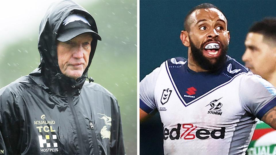 Rabbitohs coach Wayne Bennett (pictured left) during training and winger Josh Addo-Carr (pictured right) celebrating a try.