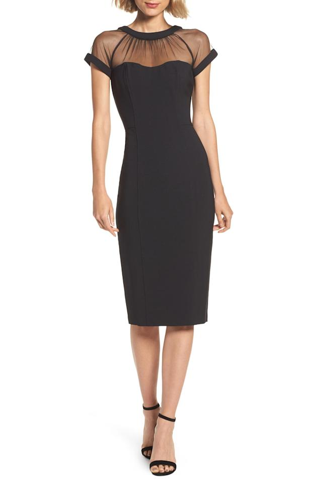 """<p>This <a href=""""https://www.popsugar.com/buy/Maggy-London-Illusion-Yoke-Crepe-Sheath-Dress-489234?p_name=Maggy%20London%20Illusion%20Yoke%20Crepe%20Sheath%20Dress&retailer=shop.nordstrom.com&pid=489234&price=148&evar1=fab%3Aus&evar9=45709742&evar98=https%3A%2F%2Fwww.popsugar.com%2Fphoto-gallery%2F45709742%2Fimage%2F46632619%2FMaggy-London-Illusion-Yoke-Crepe-Sheath-Dress&list1=shopping%2Cdresses%2Cwinter%2Cwinter%20fashion%2Cwedding%20guest%20dresses&prop13=api&pdata=1"""" rel=""""nofollow"""" data-shoppable-link=""""1"""" target=""""_blank"""" class=""""ga-track"""" data-ga-category=""""Related"""" data-ga-label=""""https://shop.nordstrom.com/s/maggy-london-illusion-yoke-crepe-sheath-dress-regular-petite/3618947?origin=category-personalizedsort&amp;breadcrumb=Home%2FWomen%2FClothing%2FDresses&amp;color=black"""" data-ga-action=""""In-Line Links"""">Maggy London Illusion Yoke Crepe Sheath Dress</a> ($148) is so sophisticated.</p>"""