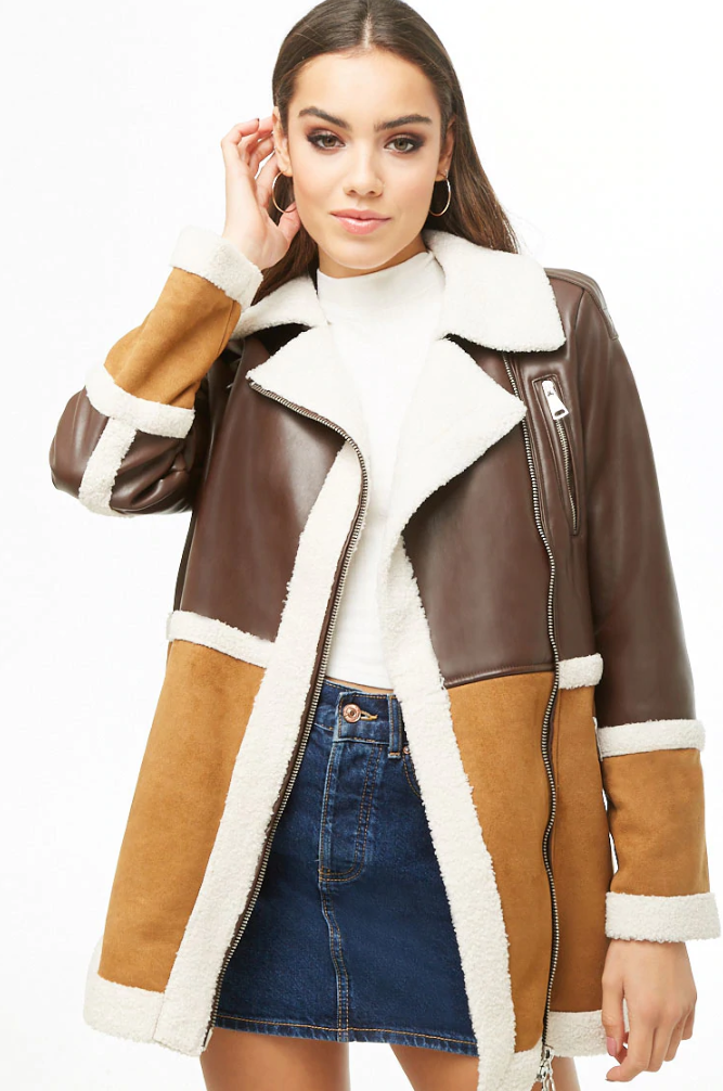 Forever 21 Faux Shearling & Faux Leather Moto Jacket. (Photo: Forever 21)