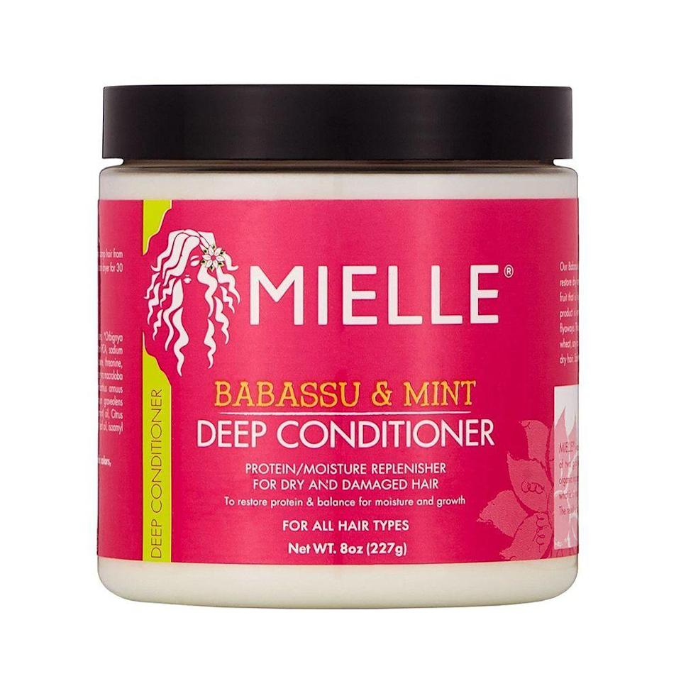 """<p><strong>Mielle Organics</strong></p><p>target.com</p><p><strong>$13.99</strong></p><p><a href=""""https://www.target.com/p/mielle-organics-babassu-oil-mint-deep-conditioner-8-oz/-/A-50662230"""" rel=""""nofollow noopener"""" target=""""_blank"""" data-ylk=""""slk:Shop Now"""" class=""""link rapid-noclick-resp"""">Shop Now</a></p><p>The smell alone is enough to make this deep conditioner a winner. This paraben and the sulfate-free formula is gentle enough for all curl types, providing moisture and strength as well as enough slip to make detangling a breeze. </p>"""