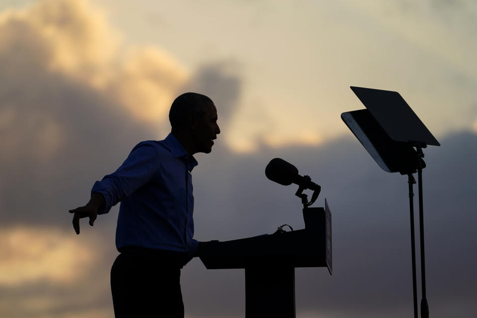 Former President Barack Obama speaks at Citizens Bank Park as he campaigns for Democratic presidential candidate former Vice President Joe Biden, Wednesday, Oct. 21, 2020, in Philadelphia. (AP Photo/ Matt Slocum)