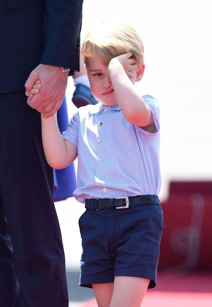 <p>A sleepy Prince George arrives in Berlin for the Royal Tour of Germany.</p>