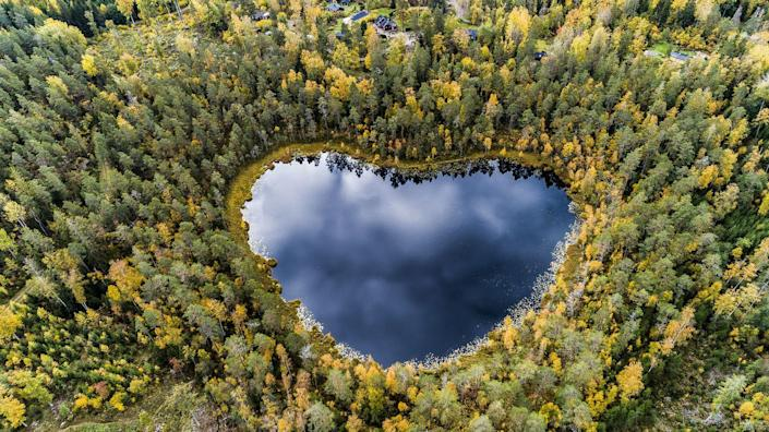 <p>A heart-shaped lake sits hidden in the trees in Sweden.</p>
