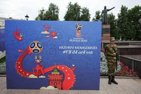 A soldier stands near the Fan Fest in Nizhny Novgorod, Russia, June 30, 2018. REUTERS/Damir Sagolj