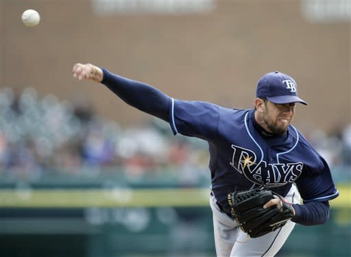 Tampa Bay Rays starter James Shields pitches against the Detroit Tigers in the first inning of a baseball game Wednesday, April 11, 2012, in Detroit. (AP Photo/Duane Burleson)
