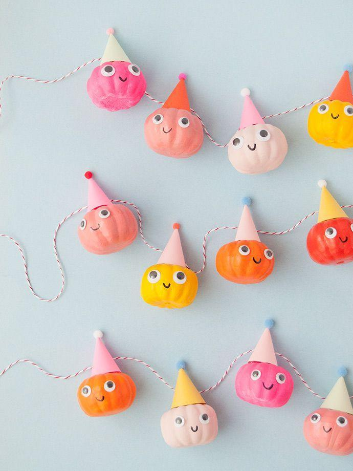 """<p>Enter the cutest pumpkins we ever did see! Set the tone for your party by hanging this cheery garland, complete with miniature party hats and googley eyes galore.</p><p><em><a href=""""https://www.handmadecharlotte.com/party-pumpkin-garland/"""" rel=""""nofollow noopener"""" target=""""_blank"""" data-ylk=""""slk:Get the tutorial at Handmade Charlotte »"""" class=""""link rapid-noclick-resp"""">Get the tutorial at Handmade Charlotte »</a></em></p>"""